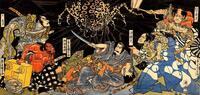 歌川国芳作の源頼光と四天王で、頼光四天王のそれぞれ手にしているものを教えてください。