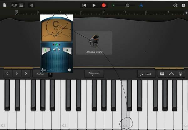 ipadのピアノアプリでC4の鍵盤を押しているのですが、iPhoneのチューナーアプリではC5と表示されます。 どういう事なのか誰か教えていただけるとありがたいです。