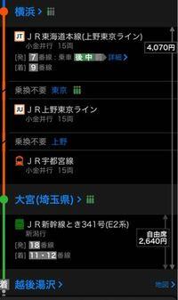 横浜-大宮-越後湯沢駅でこの電車で行って学割使うと、4070×0.8+2640=5896であってますか?