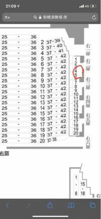 私は滝沢歌舞伎で右座敷席 右列4番という所が当選したのですがその席は見えやすいのでしょうか? また初めて新橋演舞場にいくのであまり分からないのですがこの席は画像で赤マルを書いてる席であってますか?? ...