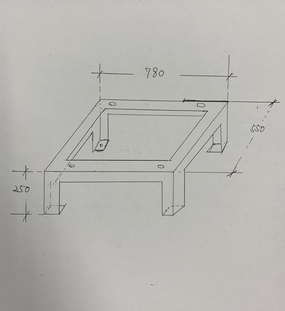 鋼材の強度計算について教えて頂きたいです。 下図のような等辺山形鋼で作った架台の上に210kgの機器を乗せたい場合は、いくつのサイズの山形鋼を使用すれば良いのでしょうか? 素人ながらの質問で申し訳ないですが、 ご回答頂けると助かります。 よろしくお願いします。