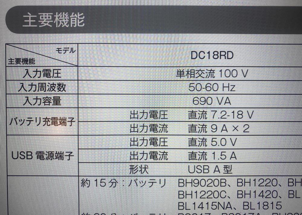 makitaマキタの18vバッテリーを二本使用するチェーンソーを使用しています。 屋外使用でバッテリーチャージをしたく、ポータブル電源の導入を検討しています。 ですが、必要な容量(??wh・??ah)がわかりません。 マキタ純正のDC18RDを使用してマキタ純正BL1860を二本ずつ複数回チャージしたいと思っています。 必要最低限のポータブル電源のスペックを知りたいです。 よろしくお願い申し...