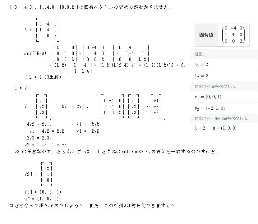 {{0, -4,0}, {1,4,0},{0,0,2}}の固有ベクトルの求め方がわかりません。
