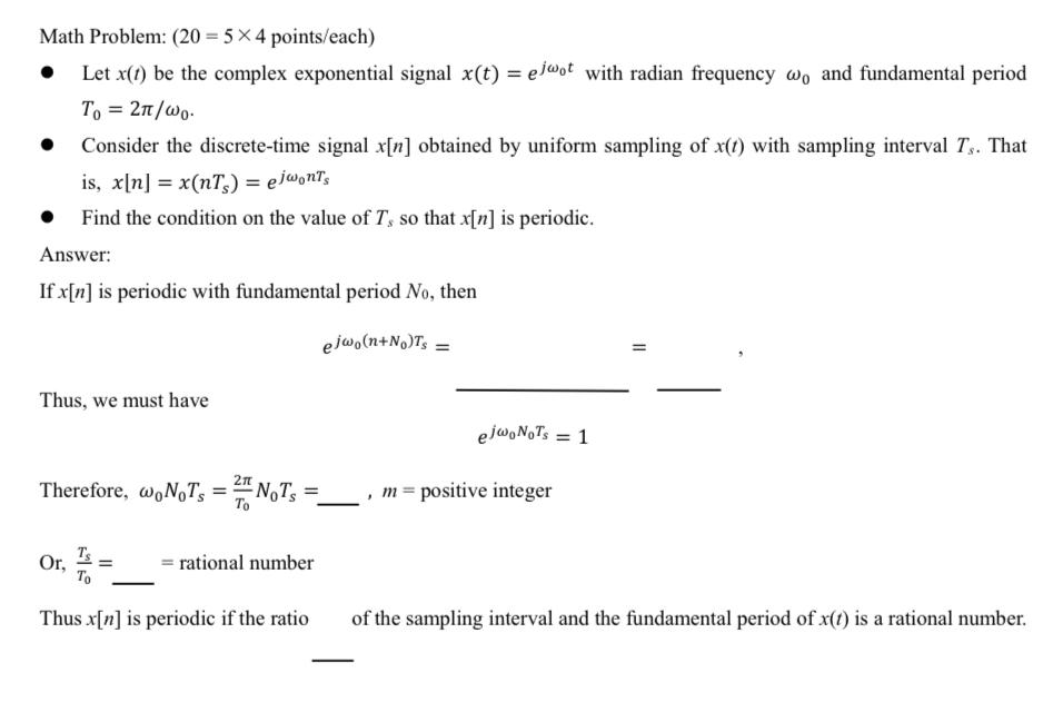 信号処理について質問です。 写真にある下線部の空白が分かりません。(はじめから) eの式変形を色々試しているのですが高校があまり数学を深く学ばない高校だった事もあり力不足を痛感しています。 真ん...