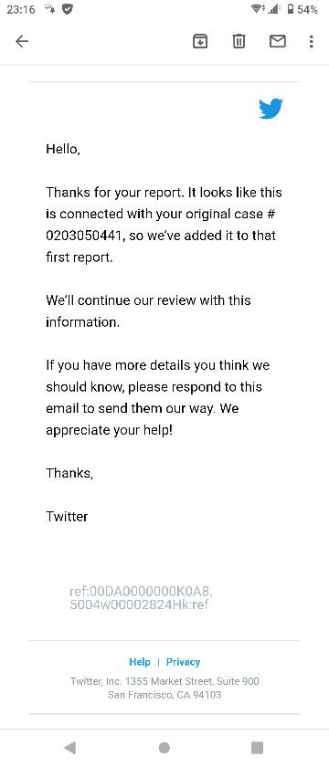 Twitterで問い合わせのメールが英語だったんですが、これはなんと書いてありますか?