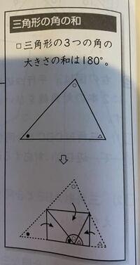算数 三角形の内角の和180度の説明 なぜ図のような折り返しで180度が説明できるが、詳しく教えてください。  上の頂点を下の辺に重なるように折り、その点をAとした場合、なぜ残りの頂点2つも点Aに重なるようにおれば、図のように二等辺三角形になるのでしょうか?