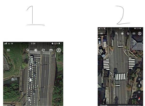 原付(50cc)の交通方法についての質問です。 1.写真(1枚目)のような進行方向の場合、途中まで片側2車線で、交差点付近になると右折レーン3車線になりますが、この際は二段階右折が必要なのでしょ...