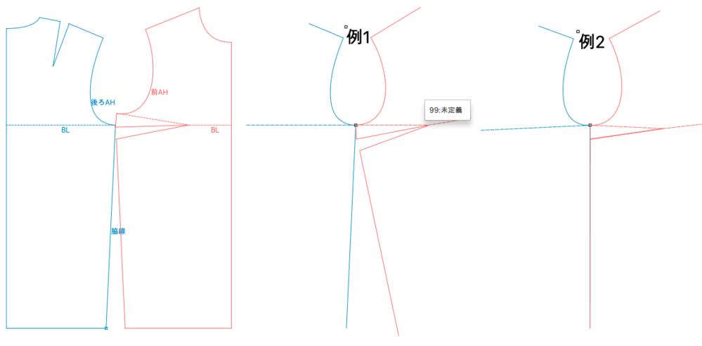 文化式製図で袖を作図をするとき、AHの写し取り方に関する質問です。 画像のように脇線が傾斜している見頃の場合、以下のどちらの写し方が正しいのでしょうか? 例1.バストラインを水平にして写す 例2...