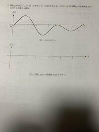 グラフのみの関数や方程式が書かれていない導関数の問題について 大学の数学の授業の際に課題として出された問題の1つなのですが 高校では工業科に属しておりパラパラ進みではあるもののある程度の 微積の知識は習得したつもりではあるのですが、いずれもf(x)に値や 式が記されていたもの、基準の線やマスが描かれていたものを解いて いました。ですが今回関数f(t)から導関数f'(t)を求めグラフの概形を ...