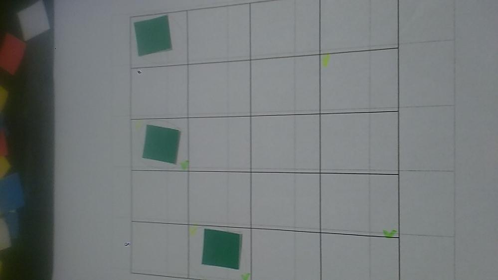 写真のような、5×4のマス目に、既に3枚の緑のピースが置かれています。ここに、さらに黄色、赤、白、青、各4枚と、緑1枚を置くパズルです。 上下、左右、斜めには、同じ色が来てはいけないというルールがあります。どのように解いたらよいのでしょうか。どなたか分かる方は解き方・戦略を教えてください。