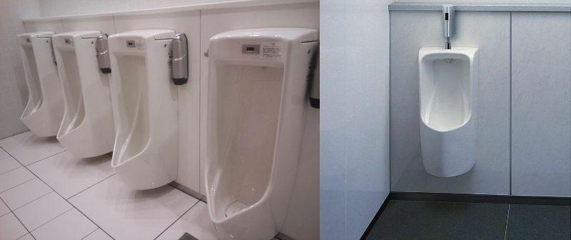 男子トイレの小便器はなぜ尿が飛び散りやすい構造になっているのでしょうか 男性用トイレ、でも言い方はどちらでもいいのですが 下の画像でいう右の形式のほうが尿は溢れにくい設計だと思うのですが、それでも左の形式のほうが圧倒的多数です そりゃあ、身長が低くて右のような形式の小便器が使えない幼児等に配慮する必要はあると思いますが 駅や商業施設のトイレで、掃除が行き届いている場合は別ですけれども、それ...