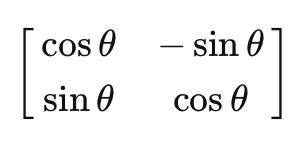 線形代数について質問です。 画像の行列を使うと空間を時計回りに回転させられるらしいのですが、 重積分の極座標変換の所で出てきたヤコビ行列に 似ていると思ったのです。 これって偶然ですか?