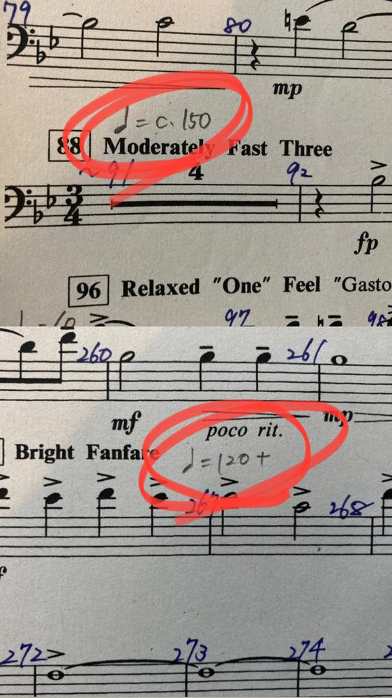 吹奏楽強豪校でトロンボーンをしています 楽譜のテンポのとこになんか変なのが付いてました笑笑 これはどういう意味なのでしょうか?? 教えてくださいm(*_ _)m
