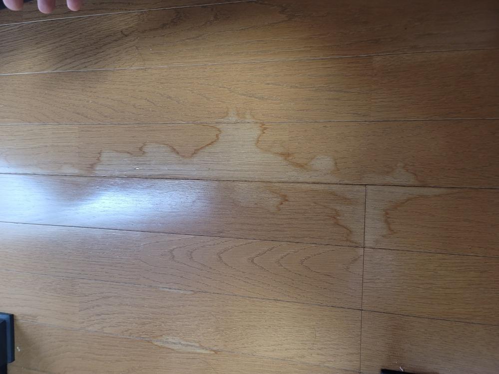 木造アパートの2階に住んでいるものです.床にマットを敷いて生活していましたが,昨日久しぶりにマットの下を掃除しようと思ったら, フローリングが変色していることに気づきました.昨日からその原因について考えてみたのですが,去年の4月か5月,部屋で洗濯物を干すとき(マットは六月から敷きました),洗濯物から水が落ちたことがあります.その時は水の量も少なかったし(100mlほどだったと思います),ほん...