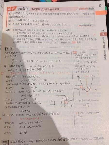 数II 青チャート基本例題50の(1)の条件が2つの解がともに1より大きいなので私はD>0だと思ったのですが、解答ではD≫0でした。 なぜそうなるのか教えてください!
