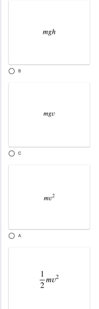 分かる方居ましたら解答お願いしますm(_ _)m 高度 h を速度 v で運動する質量 m の物体が持つ位置エネルギーはどれか。