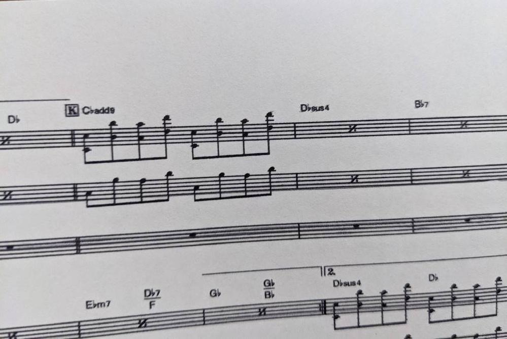 バンドのキーボードスコアの読み方についての質問です。「·/·」のマークは直前の小節の繰り返しだと認識していますが、各小節の左上にあるコードは変わっています。これは無視しても大丈夫ですか?