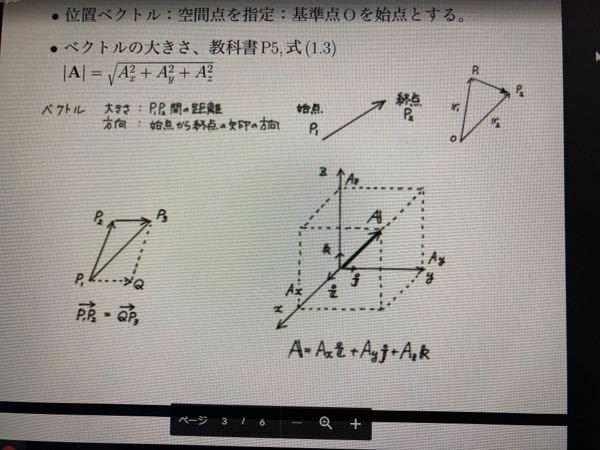 大学物理についてです。 高校の時からベクトルが苦手だったので、 大学でのベクトルで苦戦しています。 写真のベクトルAを表している式 A=Axi+Ayj+Azk というのがありますが、 なぜ基本ベクトル(単位ベクトル?)と掛ける必要があるのでしょうか?また、ベクトル同士の積って何を表しているのでしょうか?どなたか助けてください<(_ _)>