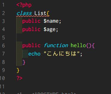 """【PHP】classを定義しようとするとエラーが出ます。 ごく単純な記述です。 phpの記述の下にはHTML内でインスタンスを作成したり、メソッドの実行などを記述していましたが消しました。 添付画像のように""""on line 2""""、すなわち2行目の""""class List{""""の部分です。 何度か見直したり書き直ししたのですが、 エラーが消えません。 エディタはVSCode、ブラウザはChromeで環境はXamppです。 理由のわかる方いらっしゃいましたら教えて下さい。 宜しくお願い致します。 <?php class List{ public $name; public $age; public function hello(){ echo """"こんにちは""""; } } ?> -------<エラー内容>------- Parse error: syntax error, unexpected 'List' (T_LIST), expecting identifier (T_STRING) in C:\xampp\htdocs●●●●.php on line 2 ----------"""