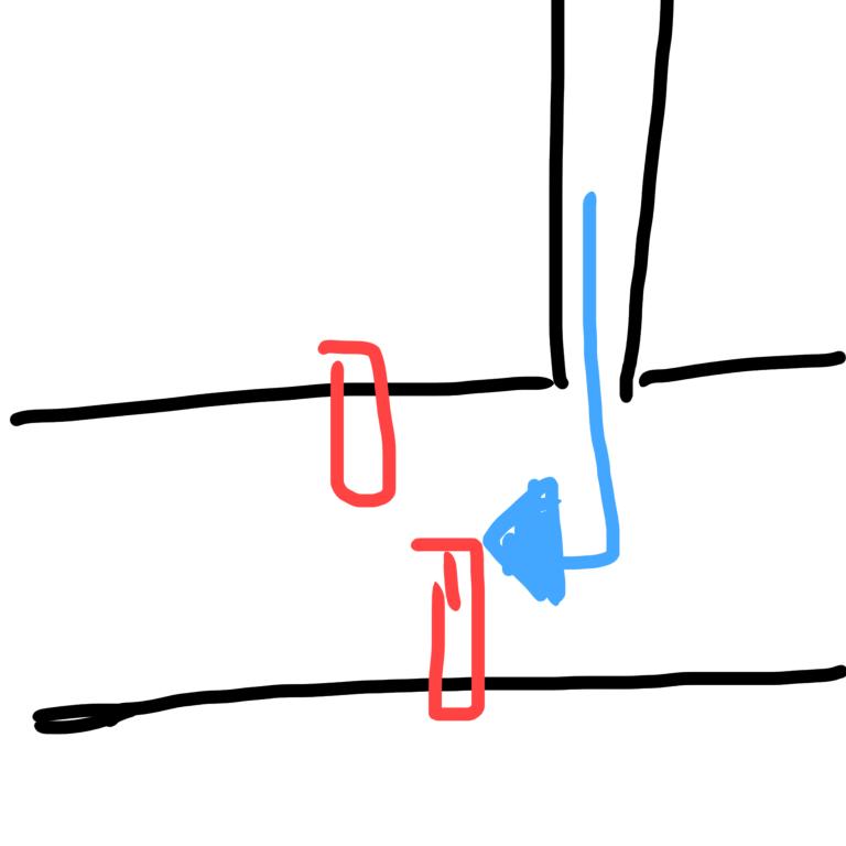画像の場合(赤は信号、青が通ってきた道で、小道から大通りに右折して出たら信号が赤になっていた時の話です)、進んでも大丈夫ですか? ダメですか? 歩行者はなく、右折すると大通りの信号の停止線の先に出ます。 小道から出るのに信号はありません…が、右折した先の直進道路には信号があります。T字路です。 伝わりますかね…?