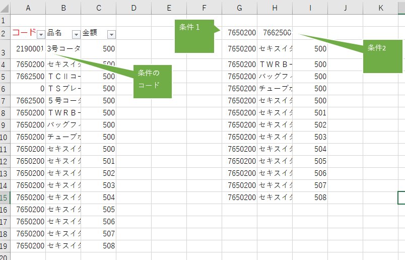 Excelの関数についてです。 =FILTER(A2:C19,A2:A19=G2) を使用しています。 しかし、G2だけじゃなくH2の数字の条件も抽出したいです。 どうしたらいいのか教えてください。