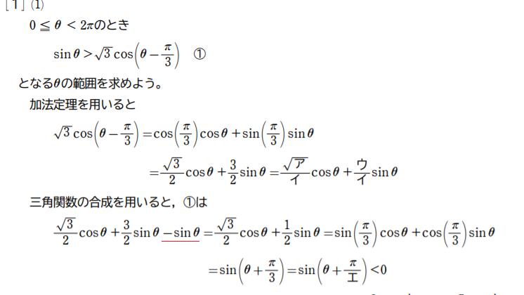 以下のサイトに載っていたセンター数学の解説なのですが、赤線の部分の-sinθはどこからやってきたのでしょうか? ご回答よろしくおねがいいたします。 https://bouseijuku.sakura.ne.jp/center-s.html