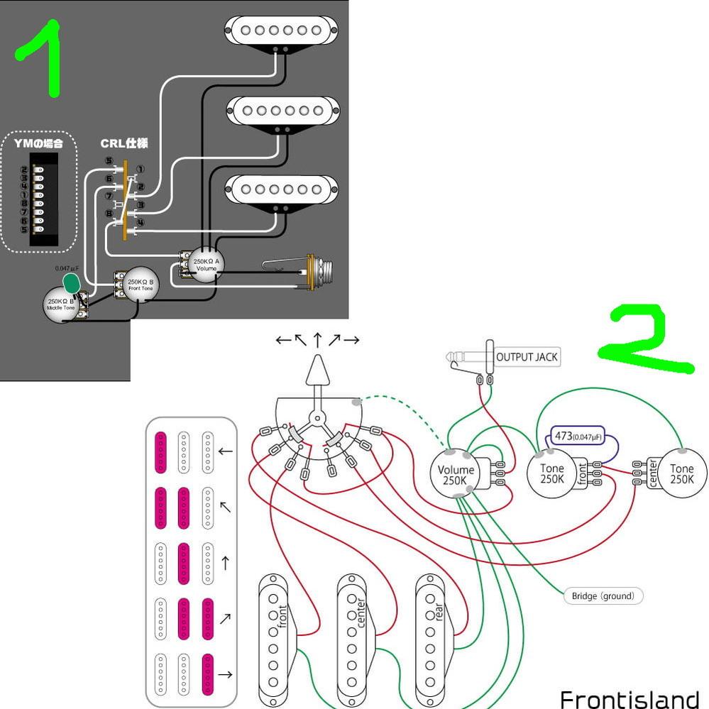 PUセレクターの配線に関して。 ピックアップからの配線で1のセレクターと2のセレクターで繋ぐ順番が 違いますが、どういうことなのでしょうか。 セレクターに、1は前側の端子から、フロント、センター、リアとなっていますが、 2は、前側の端子から、リア、センター、フロントとなっています。 PUセレクターによって違うということなのかもしれませんが、 2の方のセレクターは繋がり方が図でわかるのですが、 ボディーから出ているつまみを後方に倒すと中の動く方は先端に行き、 リアPUの線と繋がり音が出る。 1の方は繋がり方が分かりません、どういう繋がり方をしてるのでしょうか。 中身の構造が知りたいです。 図とか有るサイトを教えて頂き、説明して頂けるとありがたいです。 宜しくお願いいたします。