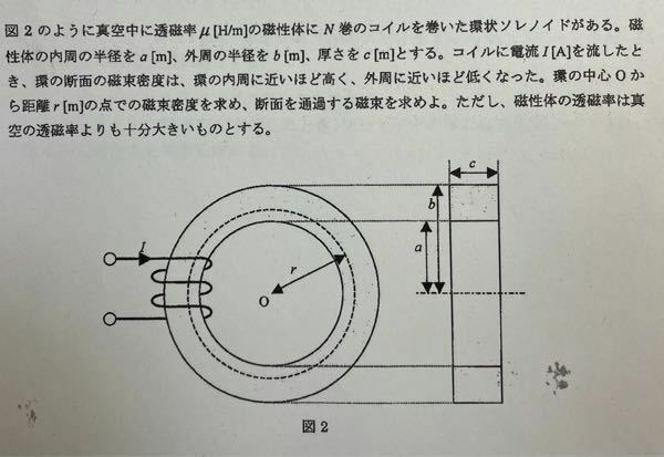この問題の解答をお願いします。 特に、中心からrのところでの断面を通過する磁束を求める際の断面積についてですが、単純に(c×r)-(c×a)でいいのでしょうか?それとも、微小面積c×drをaからrまで積分して求めるのでしょうか?