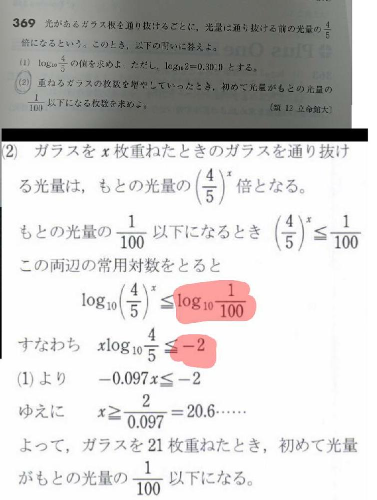 log10 1/100を-2に変換したのはどのような式が使われているのでしょうか?