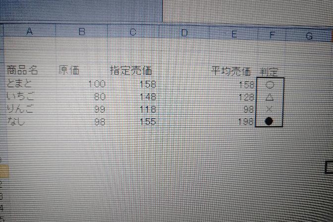 お疲れ様です。 Excelで質問です。 写真の用な判定をする計算式を作りたいです。 知恵をおかし下さいませ。 原価以下✕ 原価以上指定売価以下△ 指定売価と=○ 指定売価以上● を判定セルに表示したいです! よろしくお願い致します。