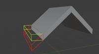 blenderのモデリングで画像の赤線のようにしたいのですが緑のように張り出してしまいます。赤線のようにするにはどうすればいいでしょうか?