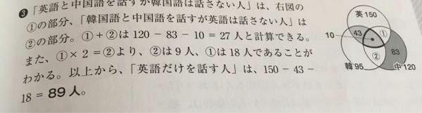 日本在住の外人300人について調査したところ、以下のような結果になった。 英語を話す→150人 韓国語を話す→95人 中国語を話す→120人 このうち、英語と韓国語の両方を話す人は43人、中国語だけを話す人は83人いた。 英語と中国語を話すが韓国語を話さない人は、韓国語と中国語を話すが英語を話さない人の2倍いた。英語、韓国語、中国語をすべて話す人が10人いたとすると、英語だけを話す人は何人...