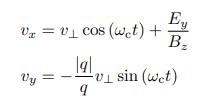 画像の式を不定積分した、x(t), y(t) を教えてください。積分定数はそれぞれ x₀, y₀ です。
