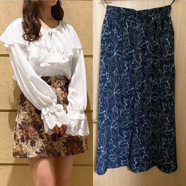 洋服の組み合わせについての質問です。 私は骨格ストレートだと思うのですが、この黒いスカート(腰回りがすっきりとしてる若干フレアなスカート)に合わせるためのトップスを探してます。 白のブラウス可愛いかな?と思って調べてみたのですが、これは合うと思いますか? また他にはどのようなものが合うと思いますか?