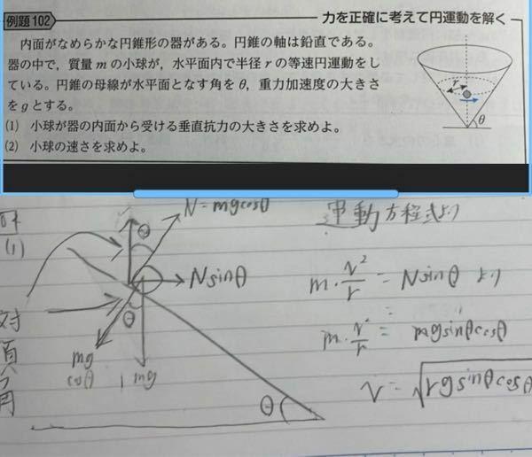 (2)の小球の速さの答えが間違っていました。僕の解き方のどこが間違えていますか?