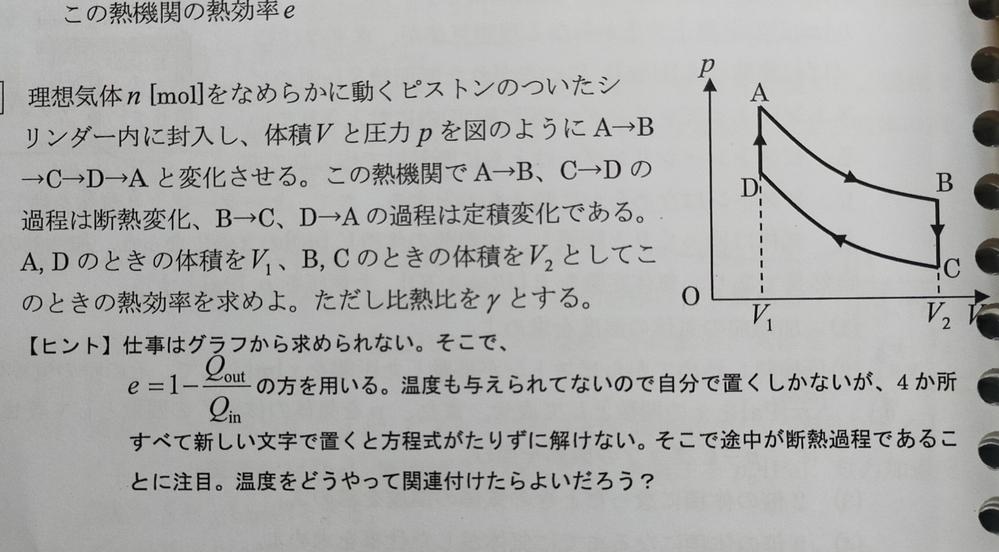 大至急!物理の問題です! 教えてください 理想気体n [mol]をなめらかに動ピストンのついたシ リンダー内に封入し、 体積Vと圧力pを図のようにA→B →C→D→Aと変化させる。 この熱機関で A→B、 C→D 過程は断熱変化、 B→C、 D→Aの過程は定積変化である。 A, D のときの体積をV」、 B, C のときの体積をVっとしてこ のときの熱効率を求めよ。