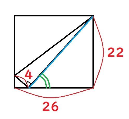 長方形の中の直角三角形の辺の長さ(青線)と角度(緑の部分)を求めたいのですが計算の仕方がわからず困っています。 左下の直角三角形と右の直角三角形が相似関係で、それを活かすのかな?と思っているのですが具体的な計算にたどり着けません。 答えよりも求め方が知りたいです。 関数電卓は苦手ですが一応持っていますので、ヒントだけでも頂ければ自分で頑張ってみたいです。 宜しくお願いします。