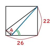 長方形の中の直角三角形の辺の長さ(青線)と角度(緑の部分)を求めたいのですが計算の仕方がわからず困っています。 左下の直角三角形と右の直角三角形が相似関係で、それを活かすのかな?と思っているのですが...