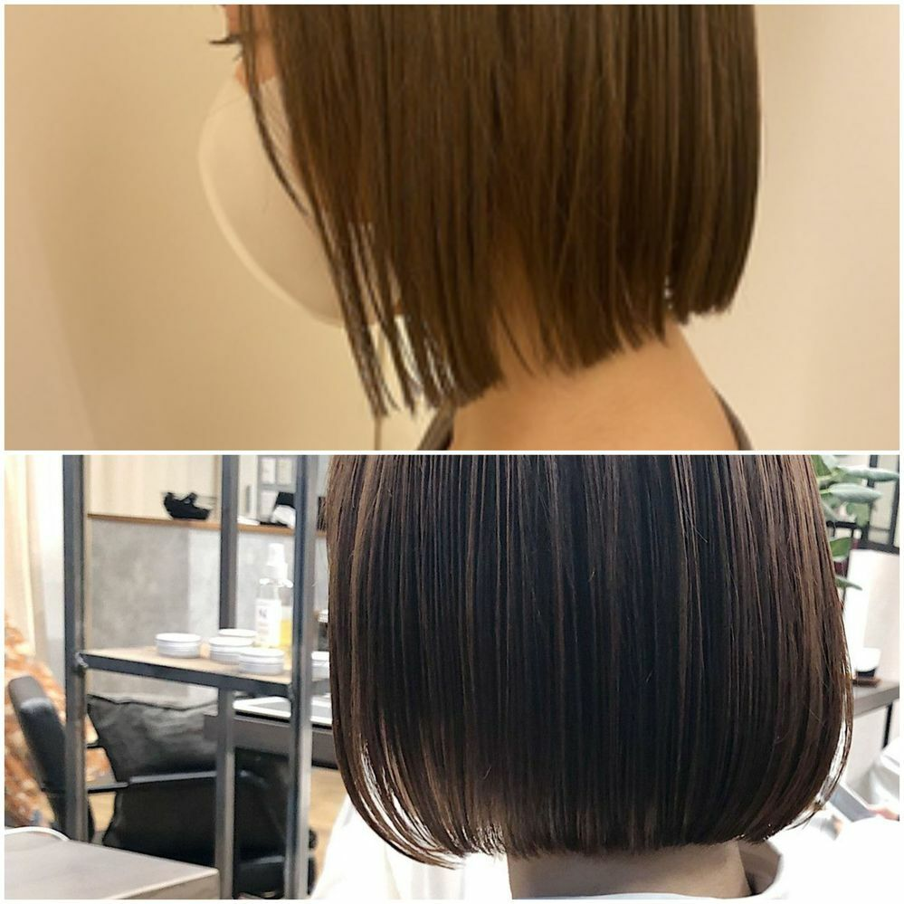 明日髪を切りに行くのですが、丸顔だとどちらのほうが小顔に見える、または似合いますか?