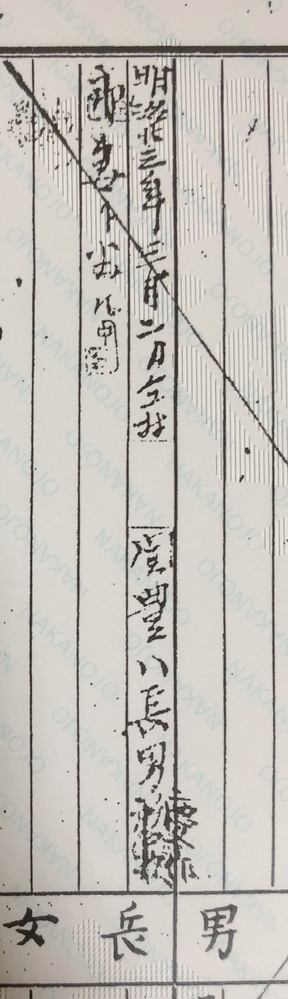 画像の関豊八長男慶◯郎の◯が何の漢字か分かりません どなたか分かる方いらっしゃいませんか?