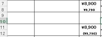 エクセル ()をつけた表示について エクセル ()をつけた表示についてご教示お願いたします。 上段に本体価格、下段に税込価格を()をつけて表示したいのですが、税込価格のセルに計算式(上段のセル*1.1)を入れると()が外れてしまいます。 ()をつけたまま表示する方法はあるでしょうか? 表示したい↓ 実際↓ ¥8,900 ¥8,900 (¥9,790) ¥9,790 下段(税込価格)は...