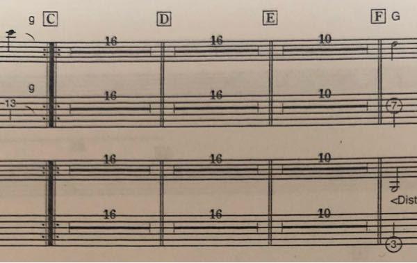ギターを最近始めた者です。楽譜の太線で16や10と書いているのは何を示しているか分かりますか?
