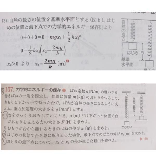 物理基礎の問題です。上が答え、下が問題です。この問題の(3)なのですが、回答ではどうして「+mgx2」ではなく「-mgx2」になっているのですか?