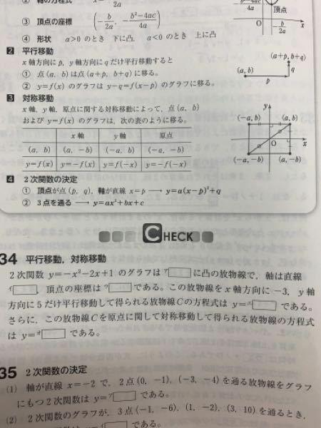 数学I 二次関数です。 問題34のエの部分なのですが、私は平方完成した後の式に代入?をしたのですが、答えが合いません。模範解答では平方完成する前の元の式にXを2回入れて出してます。 私の計算の仕方がおかしいのかそもそも平方完成した後の式に代入するのはいけないのか、その理由など教えて欲しいです。 あと模範解答の別解出ない方のエの求め方は、ただそれぞれを入れて頂点を導き、式に代入しているだけでし...