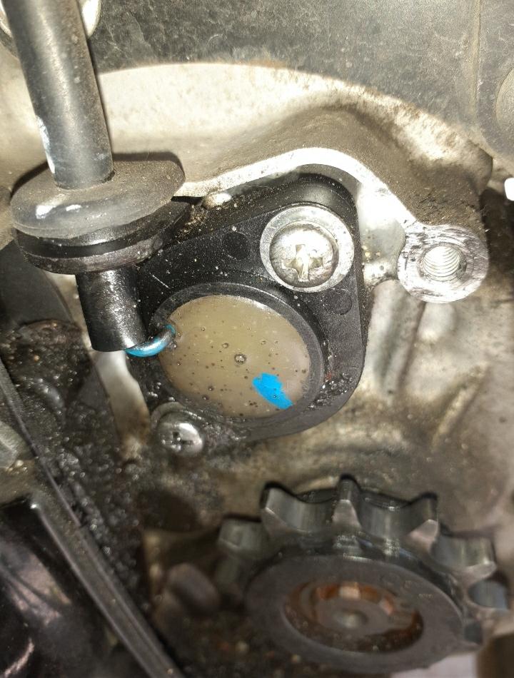 バーディー50FI車のスプロケの上にビスでとめてある丸い物はなんですかね?何かのセンサーでしょうか?役割を教えて下さ い
