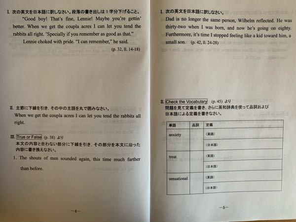 日本語訳とⅡの答えを教えて下さい