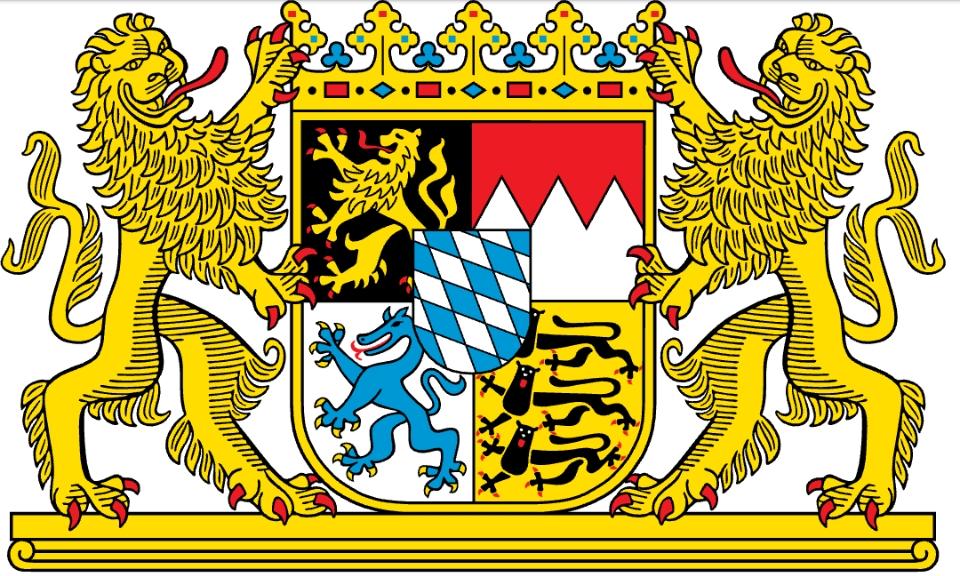 【ドイツ史】バイエルン州の旗の意味と由来を教えて下さい! (*>д<) 特に、右下の黒い生き物が何故、雑で、可愛い顔をしているのかも教えて欲しいです!w