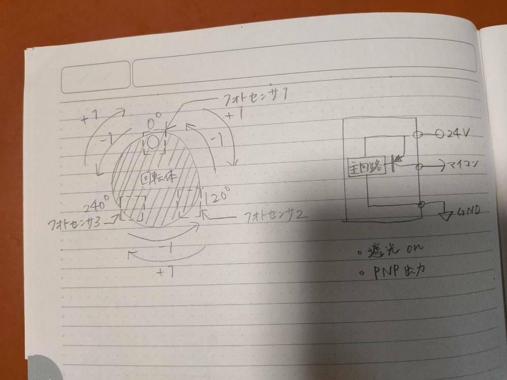 センサの断線検知方法 フォトセンサの出力線の断線をマイコンに伝えるいい方法って何かないでしょうか。 画像のように、フォトセンサ3つを用いて120度毎の回転を検出・カウントする装置をつくろうとしています。 どれかひとつでもセンサのケーブルが断線するとカウントがおかしくなってしまうので、断線を検知できるようにしたいです。 アドバイスよろしくお願いします。