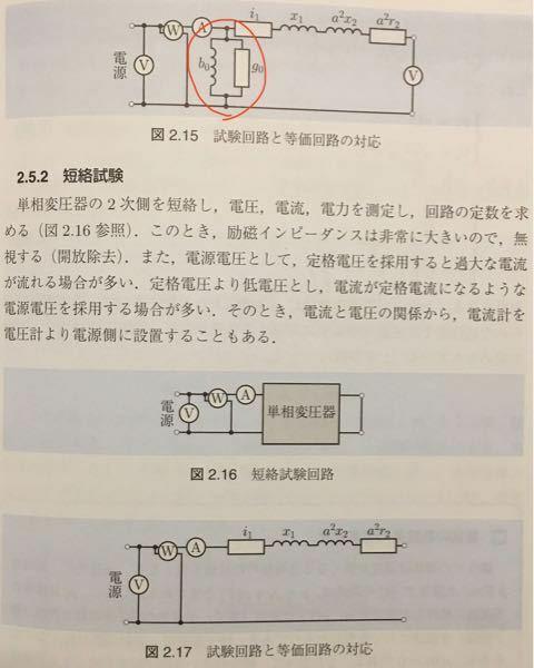 無負荷試験の場合にあった回路中の赤丸部分のものが短絡試験では無くなっていますが、これは何故ですか?