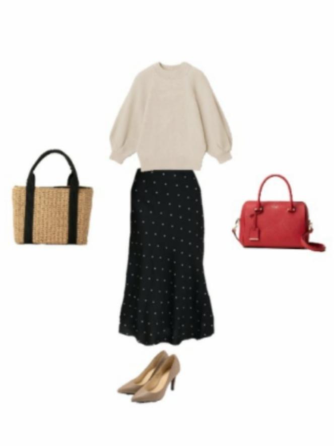 デートでの服装でアドバイスをください 画像での格好でカバンは赤バックとかごバッグどちらがいいでしょうか?